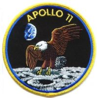 "NASA Apollo 11 Embroidered  4"" Mission Patch - Yellow Border"